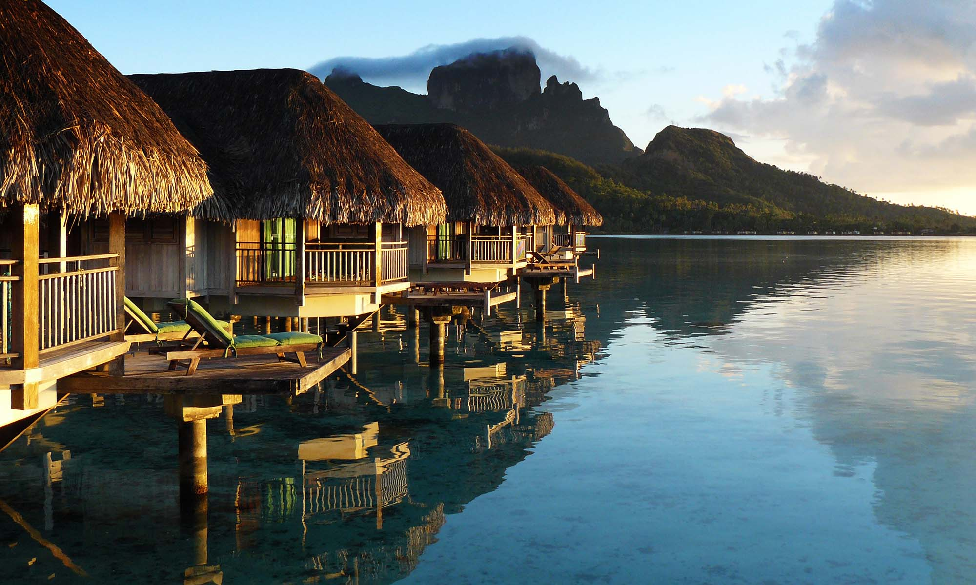 Sofitel Bora Bora Private Island Overwater Bungalows at Sunrise