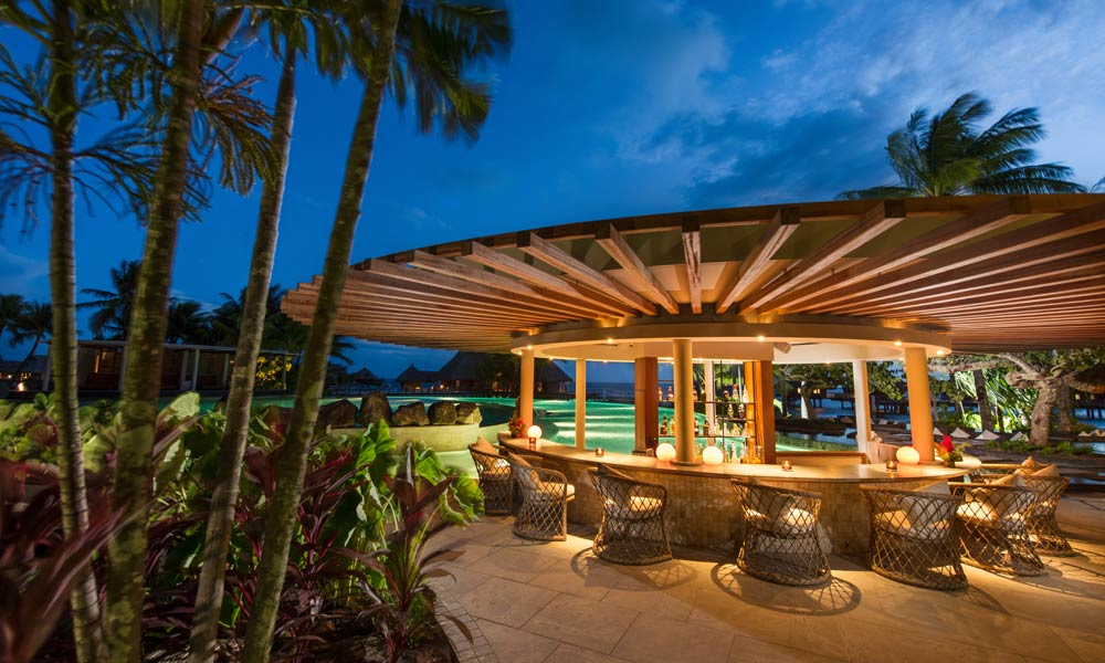 Conrad Bora Bora Nui, Pool Bar at Night