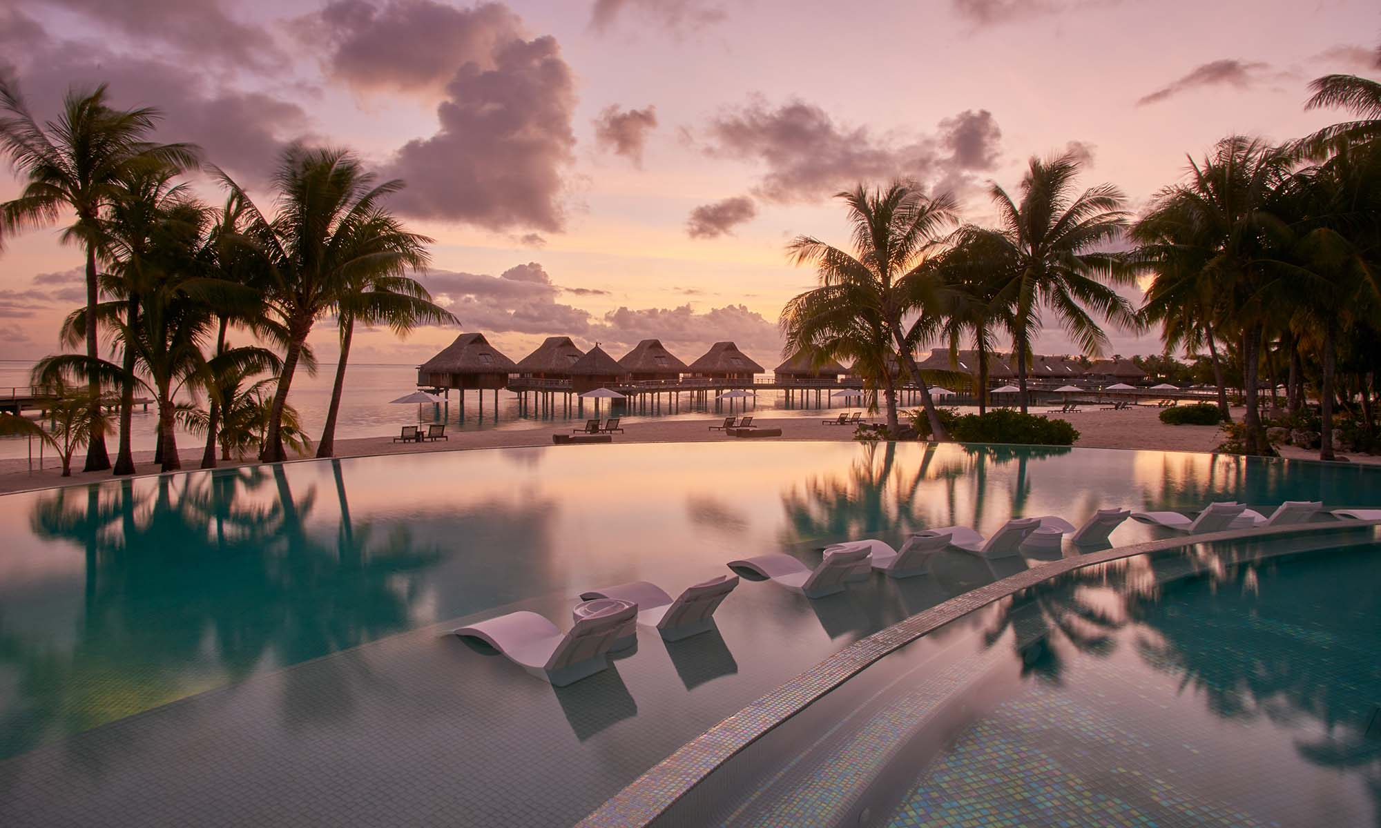 Conrad Bora Bora Nui, Pool at Sunset
