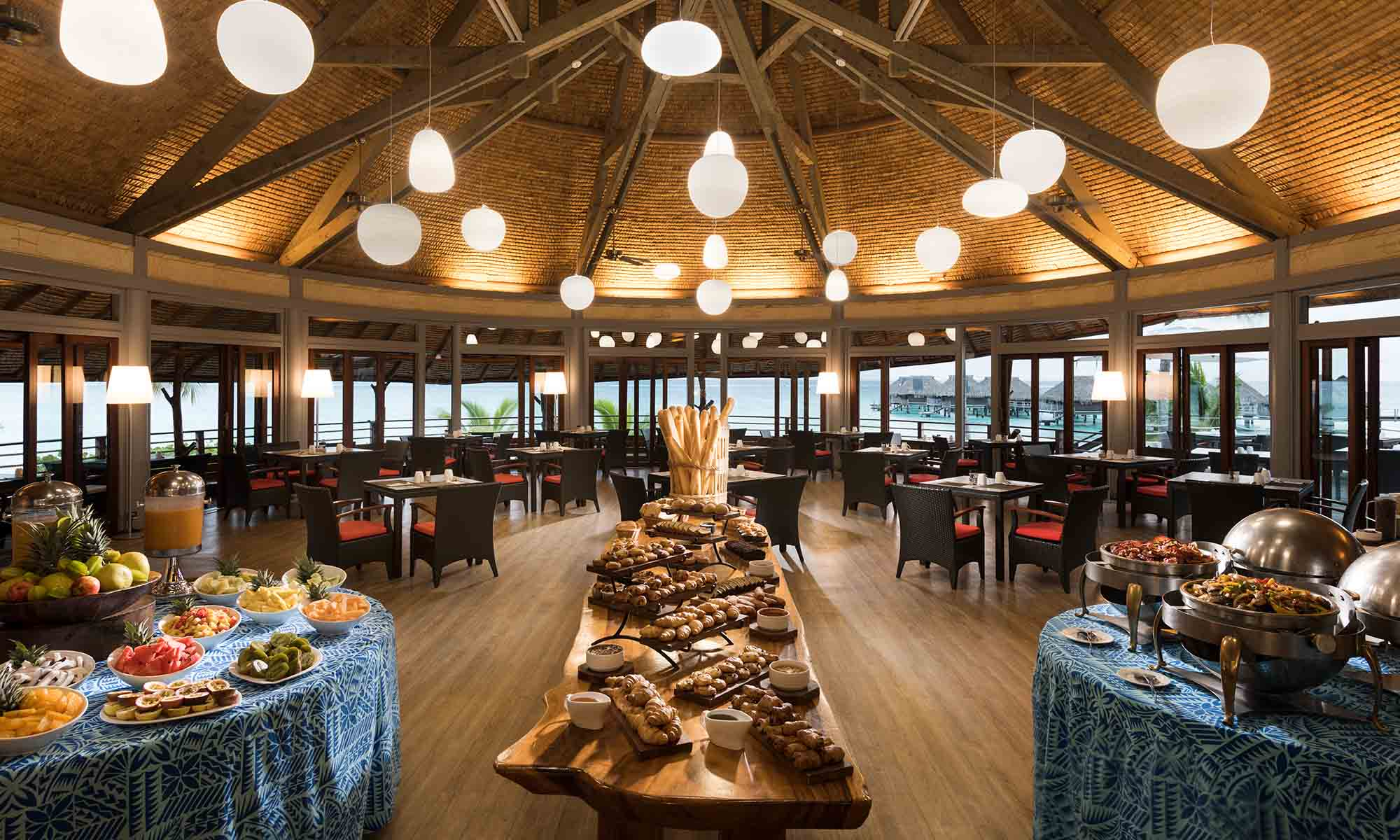 Hilton Moorea, Breakfast Buffet at Arii Vahine Restaurant