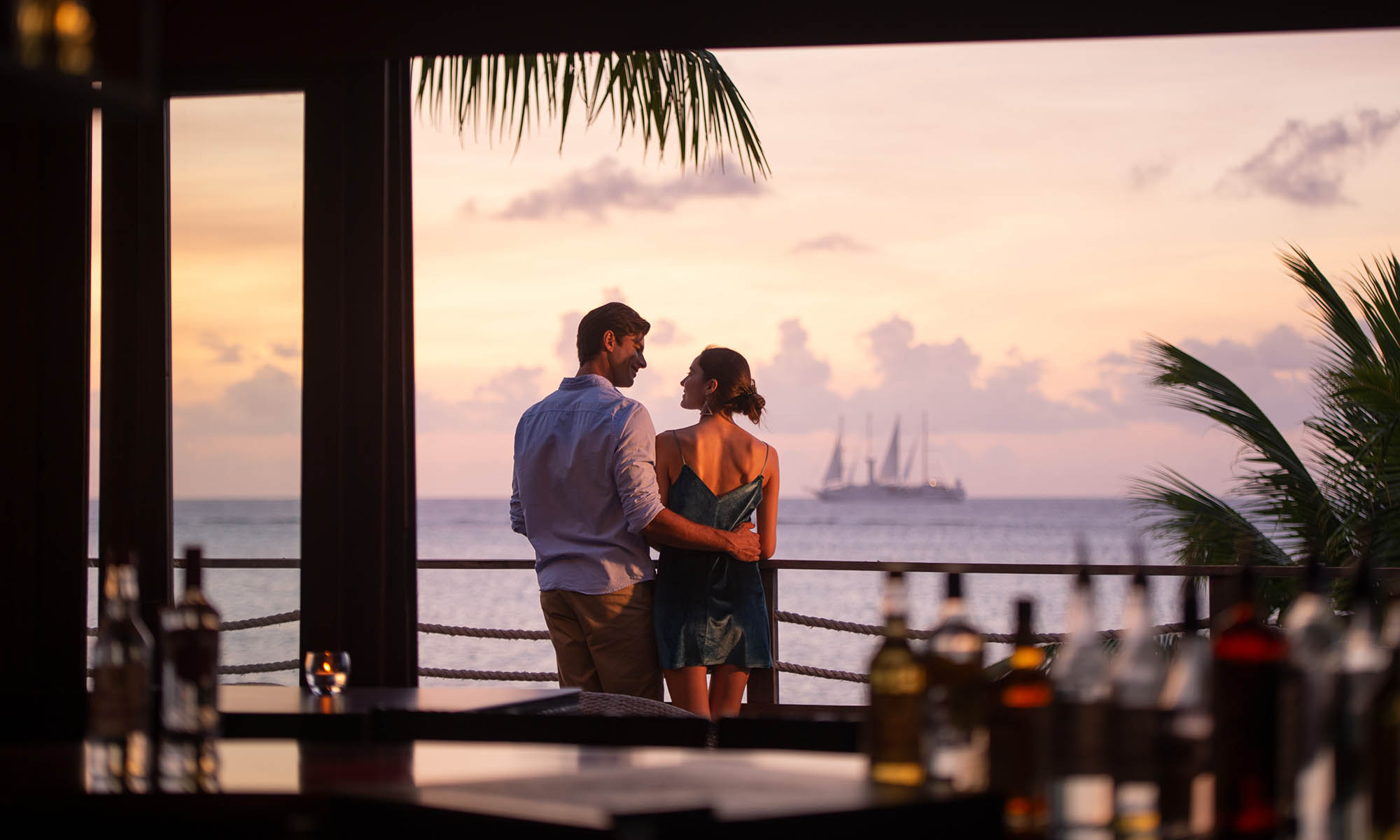 Hilton Moorea, Sunset View from the Eimeo Bar