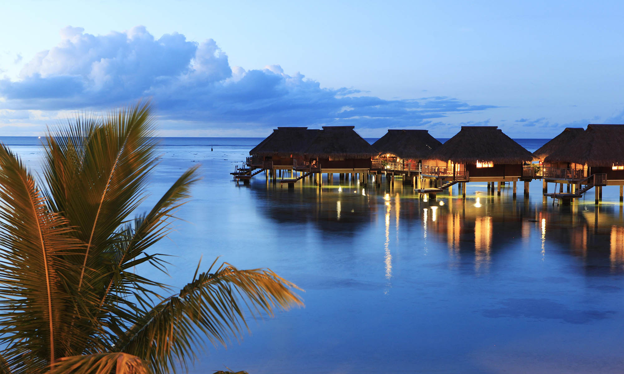 Hilton Moorea, Overwater Bungalows at Dusk