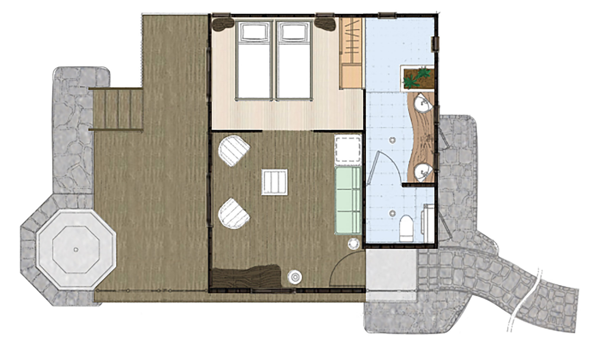 Hotel Kia Ora, Beach Bungalow Floorplan