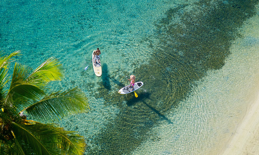 Paddleboarding on Moorea's Shores