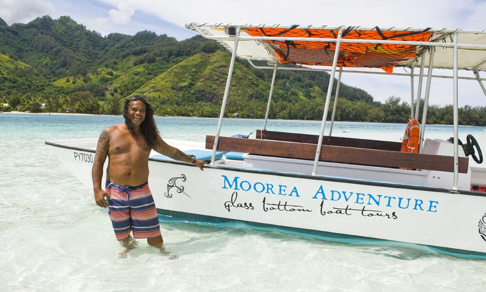 Moorea Adventure, glass bottom snorkeling adventure boat