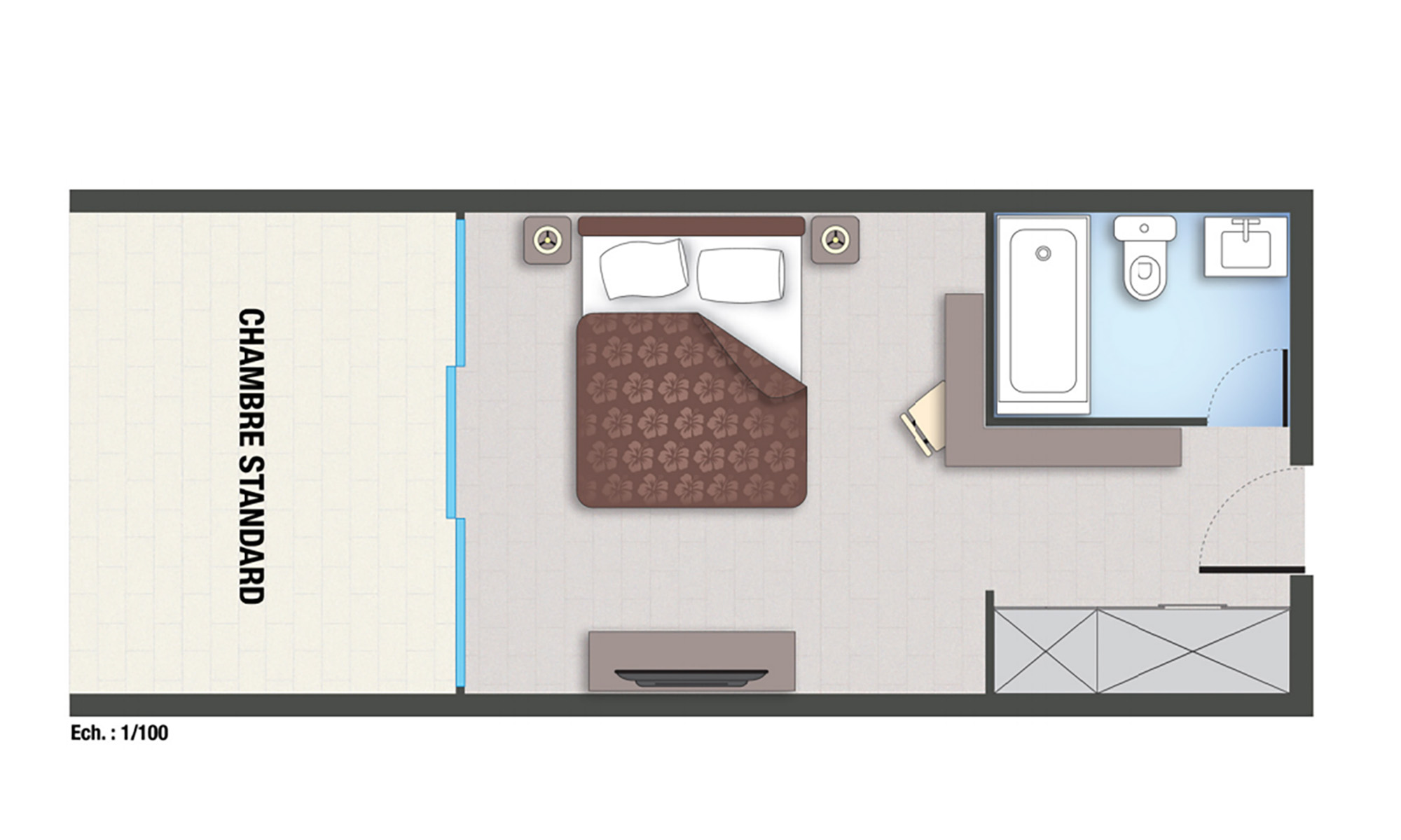 Royal Tahitien, Standard Room Floorplan
