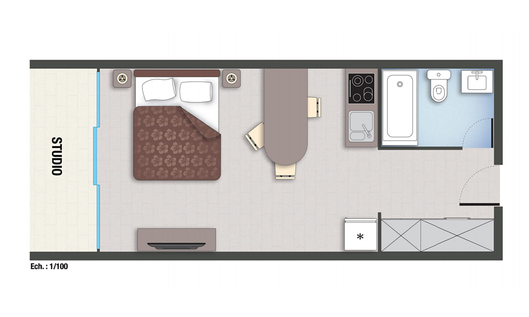 Royal Tahitien, Studio Floorplan
