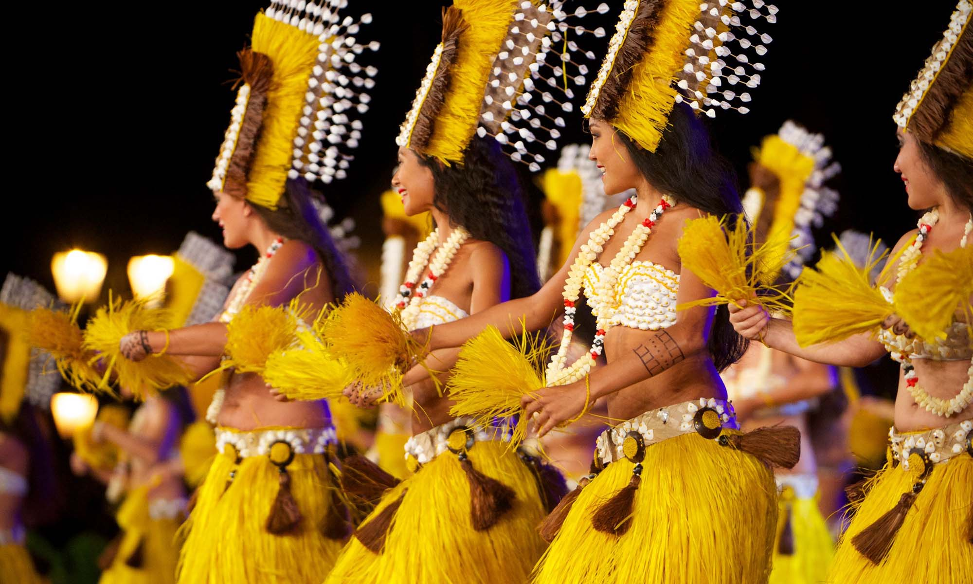 Tahitian Dancers During a Theme Night