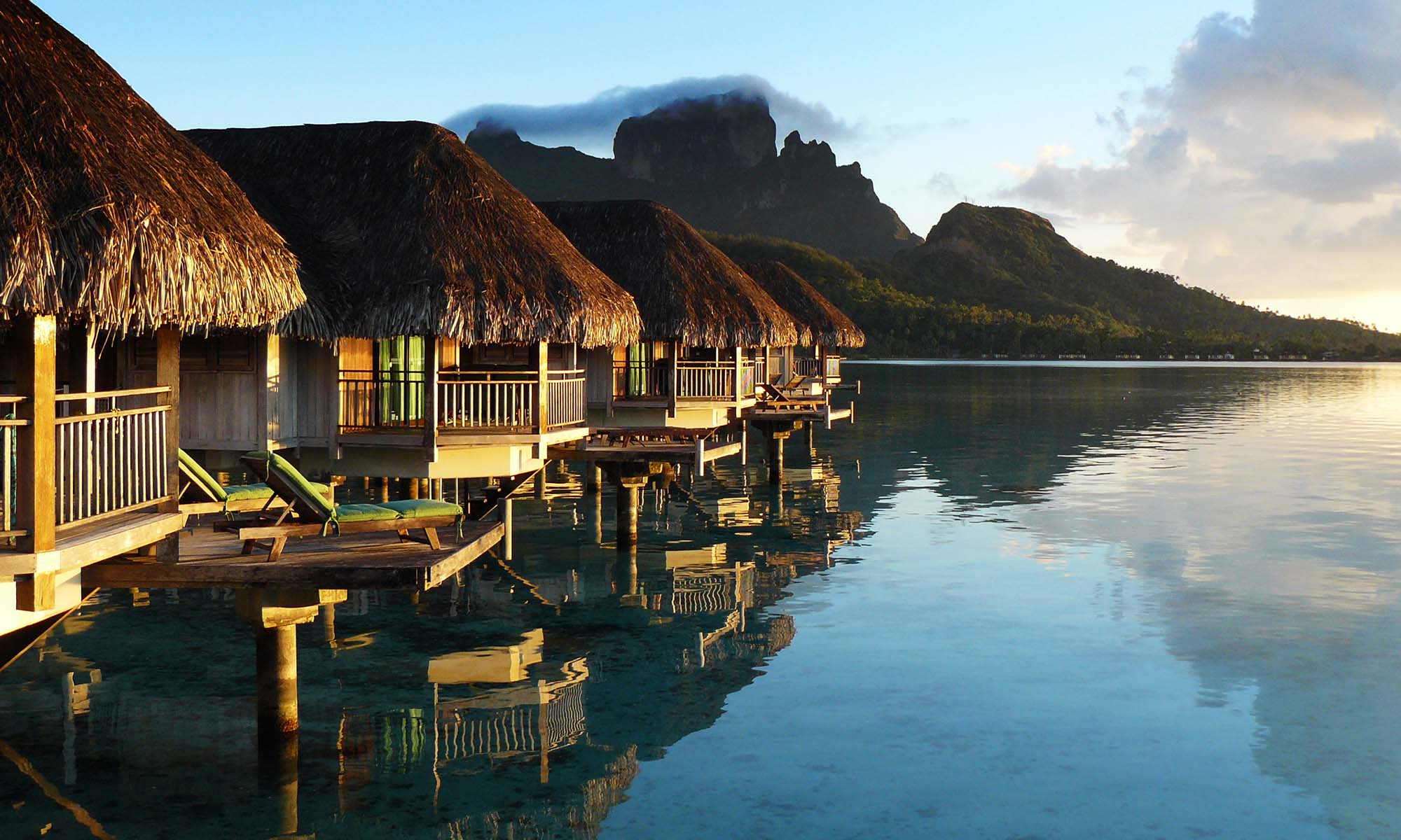 Sofitel Bora Bora Private Island, Overwater Bungalows at Sunrise