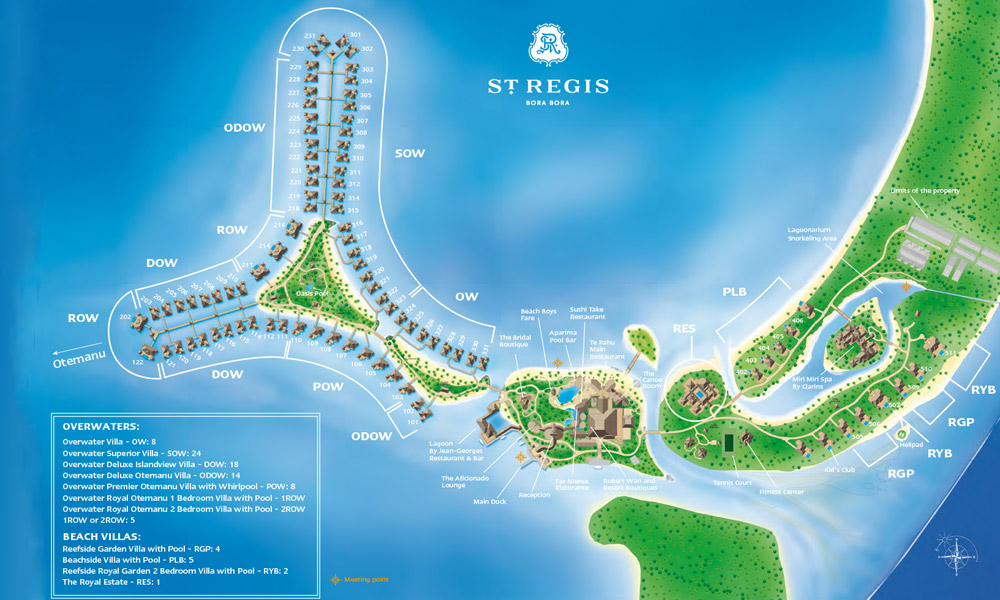 St Regis Bora Bora Resort, Map