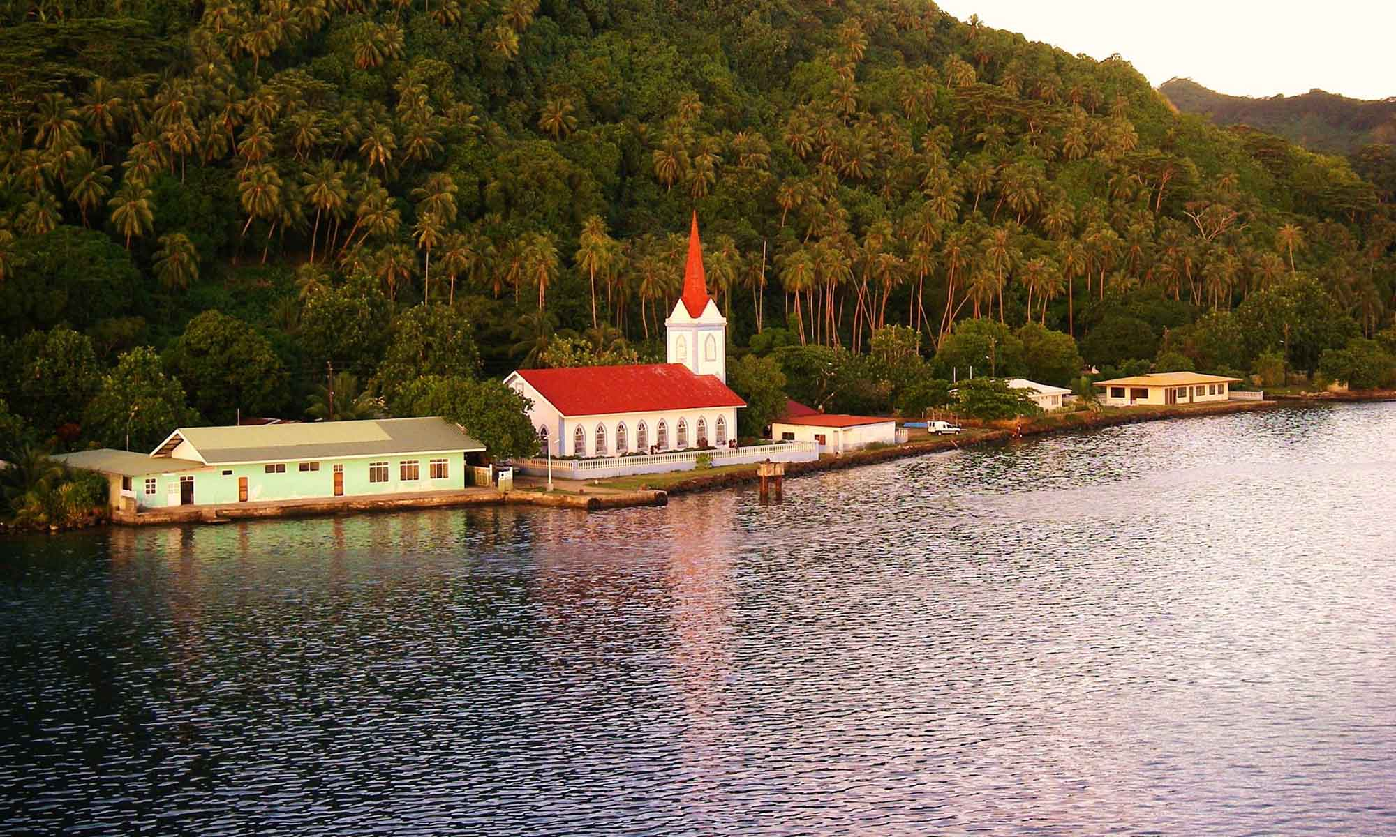 Polynesian Church on the Shores of Taha'a