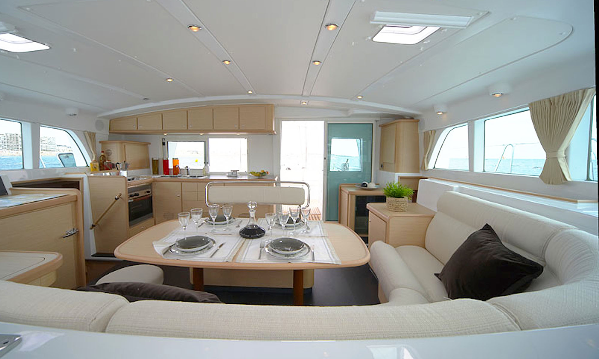 Tahiti Yacht Charter, Lagoon 440 Catamaran Indoor Living Area