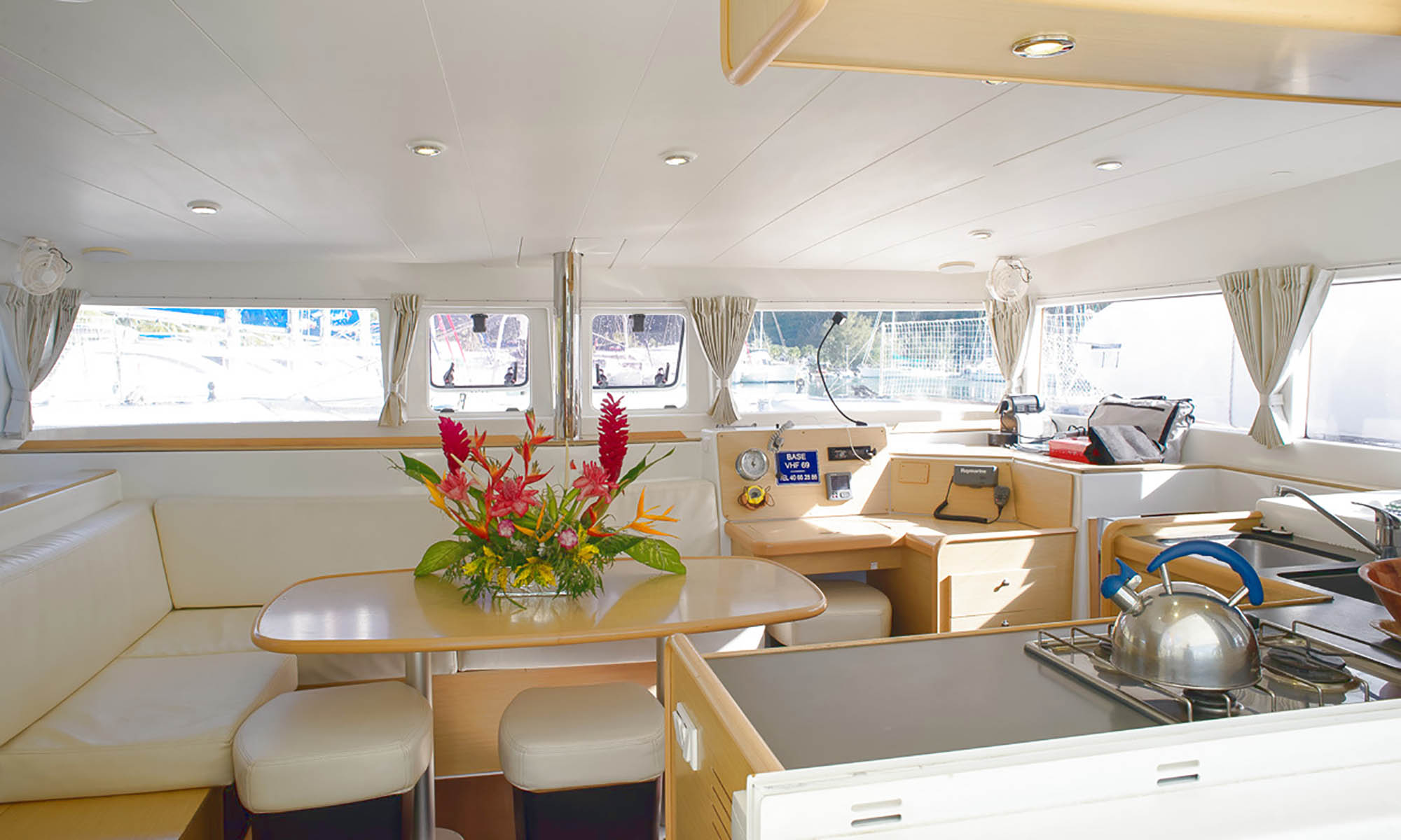Tahiti Yacht Charter, Mahe 36 Catamaran Indoor Living Area
