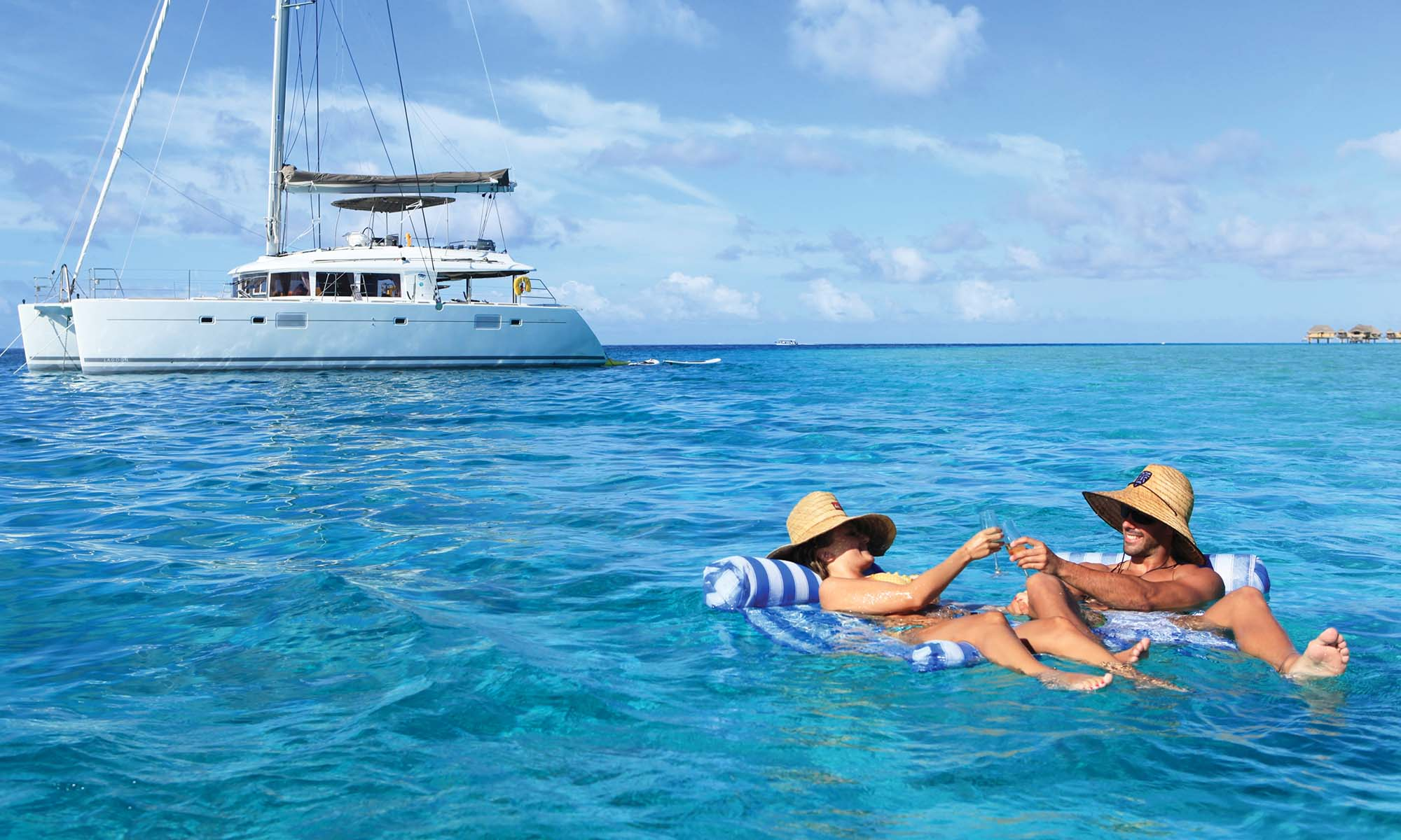 Tahiti Yacht Charter, Water Hammocks and Champagne