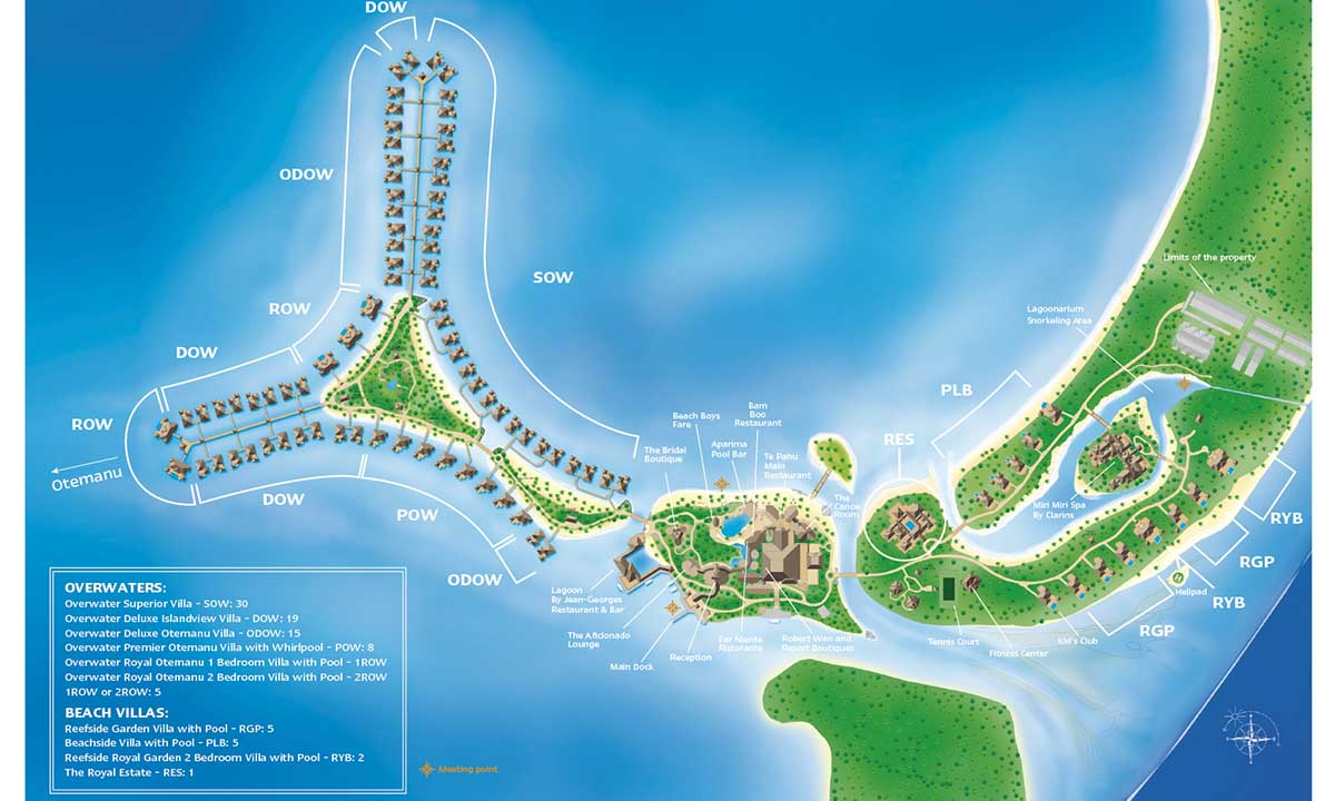 St Regis Bora Bora Resort Map