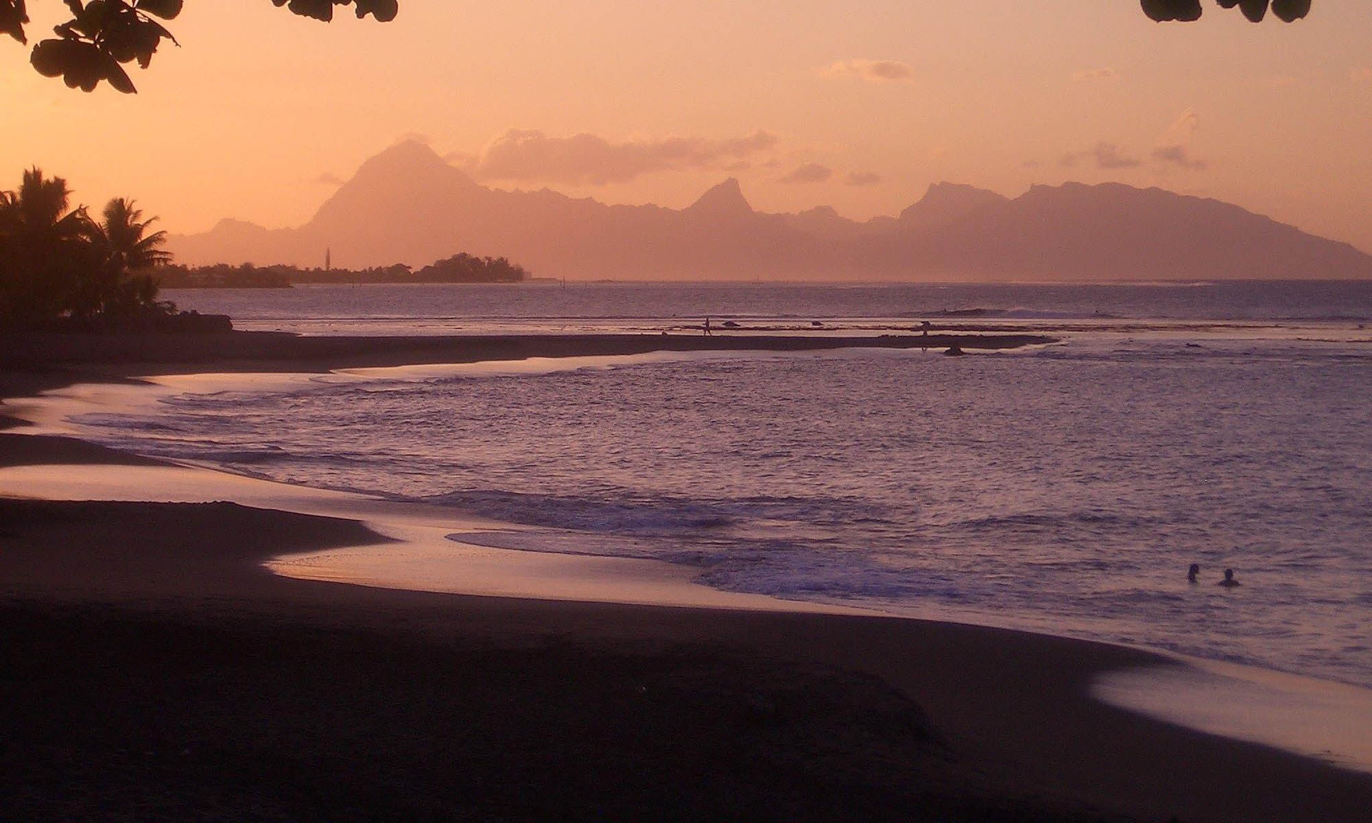 Tahiti, Sunset View of Neighboring Moorea